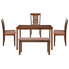 Sutlej 1+ 3+ Bench Dining Kit - @home by Nilkamal, Antique Cherry