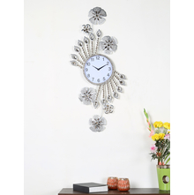 Floral Crystal Wall Clock, Gold