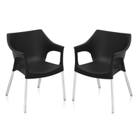 Nilkamal Novella 10 with Arm & without Cushion Chair Set of 2, Black