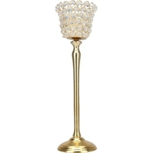 Crystal Drops Large Cup Candle Holder- @home By Nilkamal, Gold