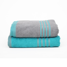 70 cm x 130 cm Bath Towel Set of 2 - @home by Nilkamal, Seagreen & Grey