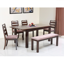 Omaha 1+ 4+ Bench Dining Set - @home by Nilkamal, Walnut