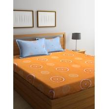 Citrus 230 cm x 250 cm Double Bedsheet, Orange