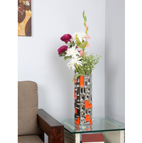 Flowers Delight Geometric Vase, Orange