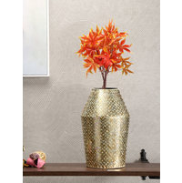 Mosaic Rectangular Stout Large Vase, Gold