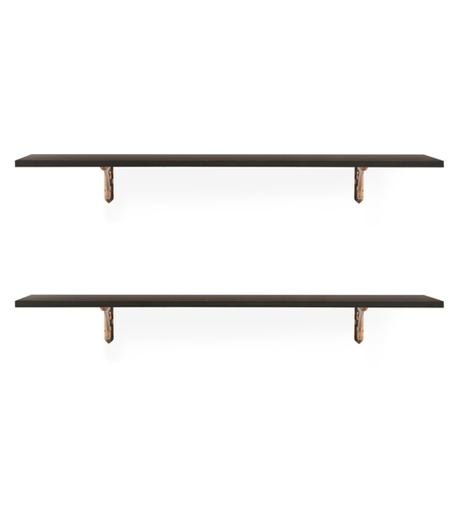 Romantic & Hera Big Wall Shelf Set of 2 - @home by Nilkamal, Walnut