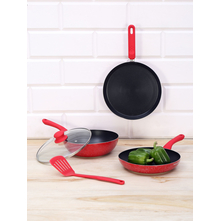 Nonstick Aluminium Cookware 5 Pieces Set, Red