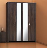 Zerlin 4 Door Wardrobe with Mirror - @home by Nilkamal, Dark Walnut