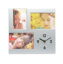 Table Clock with Photos - @home by Nilkamal, Silver