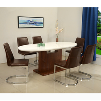 Walt 6 Seater Extendable Dining Set - @home by Nilkamal, White with Walnut