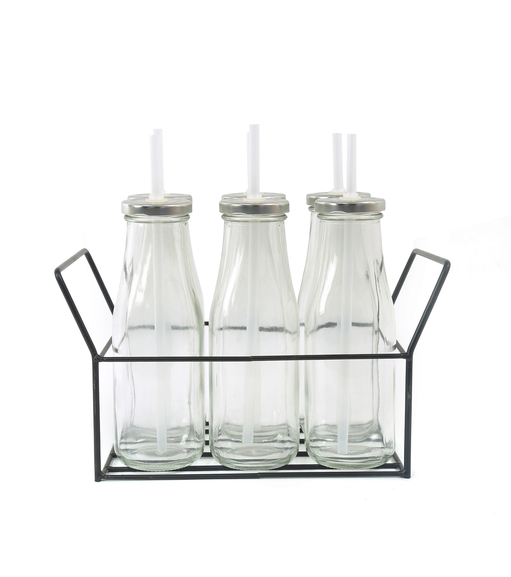 Bottle with Metal Lid/ Stand & Straw Set of 6 - @home by Nilkamal, Clear
