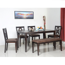 Luther 1+ 4+ Bench Dining Set - @home by Nilkamal, Antique Oak