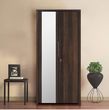 Zerlin 2 Door Wardrobe with Mirror - @home by Nilkamal, Dark Walnut