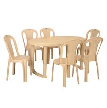 Nilkamal Grand 6 Seater Dining Set, Fine Marble Beige