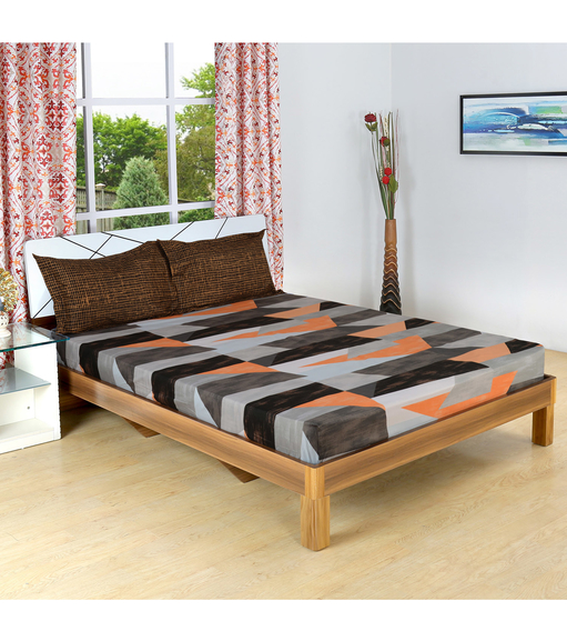 Blocks 230 cm x 250 cm Double Bedsheet - @home by Nilkamal, Orange