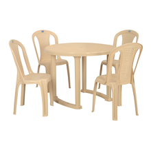 Nilkamal Meridian 4 Seater Dining Set, Fine Marble Beige