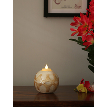 Floral Prism 10X9CM Tealight Holder, White