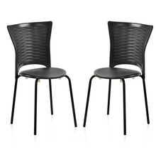 Nilkamal Novella 14 without Arm & Cushion Chair Set of 2, Black