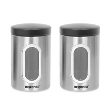 Bergner Stainless Steel Medium Canister Set of 2, Silver