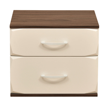 Ozone Night Stand 2 Drawer - @home Nilkamal,  white with walnut