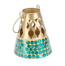 Mosaic Hanging Cutwork Votive - @home by Nilkamal, Sea Green