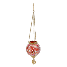 Mosaic Hanging Votive Pendant - @home by Nilkamal, Red