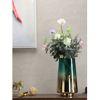 Wild Flowers Gold Band Large Vase, Emerald