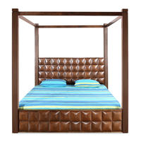 David King Bed with Storage - @home by Nilkamal, Dark Walnut