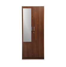 Nilkamal Reegan 2 Door Wardrobe With Mirror,  walnut
