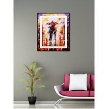Lovers in an Umbrella 35 cm x 41 cm Painting - @home by Nilkamal, Orange