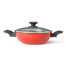 Bergner Scarlet Diecast 24 cm Kadai with Lid, Red