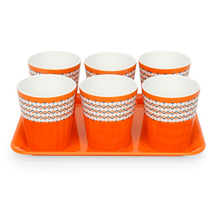 Geometric 160 ml Kullad with Tray Set of 6 - @home by Nilkamal, Orange