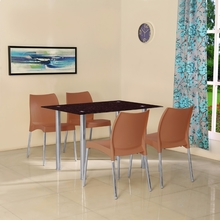 Napoli 4 Seater Dining Set - @home by Nilkamal, Rust