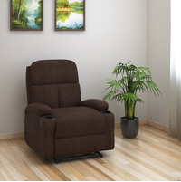 Matt 1 Seater Manual Recliner with Cup Holder - @home by Nilkamal, Chocolate