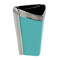 Triangle Shape Tall 21.5 cm x 12.1 cm x 28.6 cm Vase - @home by Nilkamal, Sea Green & Silver