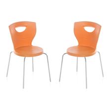 Nilkamal Novella 15 without Arm & Cushion Chair Set of 2, Orange
