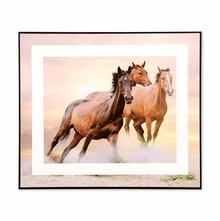 Running Horses 35 cm x 41 cm Painting - @home by Nilkamal, Brown