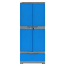 Nilkamal Freedom Cabinet with 1 Drawer Below - Deep Blue & Grey