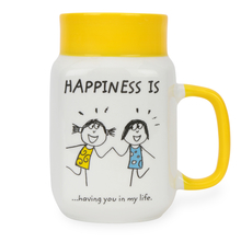 Hap Milk Mason Having you 560ml Mug - @home by Nilkamal, Yellow
