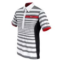 Mizuno Style Up Border Polo T Shirt - Charcoal Grey,  charcoal grey, l