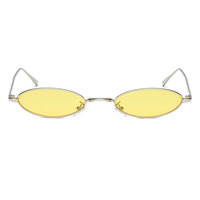 Metal Micro Oval Yellow Sunglasses
