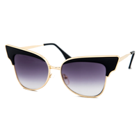 Metal Rim Cat Eye Sunnies (Black)