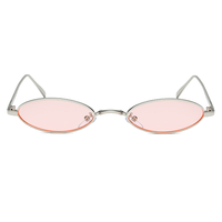 Metal Micro Oval Pink Sunglasses