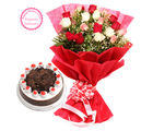 Ferns N Petals Mothers Day Special Colorful Roses N Cake