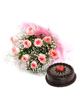 Ferns N Petals Pink Roses With Cake