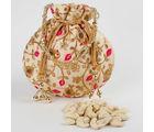 Ferns N Petals Beautiful Beige Potli of Cashew Nuts