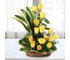 Ferns N Petals Sunshine Yellow Roses Bouquet