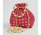 Ferns N Petals Traditional Mirror Work Pink Potli of Cashew Nuts