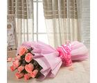 Ferns N Petals Pink Delight 10 Rose