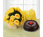 Ferns N Petals Yellow Roses And Cake